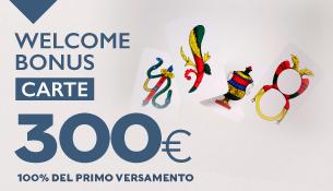 welcome bonus di 300€ per i giochi di carte
