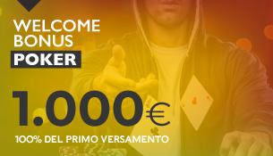 Il tuo Bonus di Benvenuto sul Poker fino a 1.000€ sul primo deposito!
